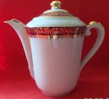 Vintage Limoges France Porcelain Large Chocolate Coffee Tea Pot Red Heavy Gold