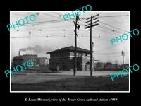 OLD LARGE HISTORIC PHOTO OF St LOUIS MISSOURI, TOWER GROVE RAILROAD DEPOT c1910