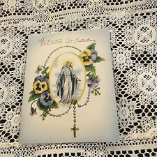 Vintage Greeting Card Easter Religious Woman Rosary