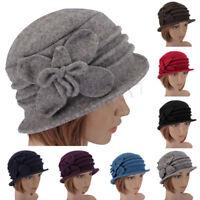 Women's Ladies Winter Vintage Elegant Wool Flower Felt Hat Cloche Bucket  UK