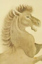 """Japanese Hanging Scroll 82.9"""" Painting Art Ink Horse Pic Art Antique Japan c136"""