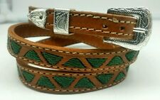 HATBAND BROWN Leather with GREEN TRIANGLE Embroidery and Buckle Cowboy Hat Band