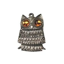 Articulated Owl Skeleton NECKLACE VTG Pendant Mod Mid Century Jewelry