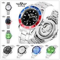 WINNER Date Display Stainless Steel Mens Automatic Mechanical Wrist Watch Analog