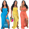 Women's Off Shoulder Solid High Slit Ruffled Sexy Bodycon Asymmetric Party Dress