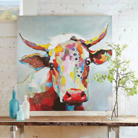CHOP397 fine 100% hand painted figure cow animal oil painting on canvas art