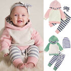 Kids Baby Boy Girl Blue Pink Hooded Sweatshirt Tops+Pant Outfits Tracksuit 0-24M