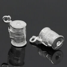 "4 pc Charm Pendants Spool Of Thread Silver Plated 14mm x11mm( 4/8""x3/8"") LC3733"