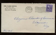 US Western Park's Hotel Advertising Cover 1943 Cheyenne, Wyoming to local