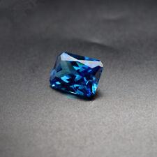 Unheated 8.19ct AAAAA Sea Blue Sapphire Emerald Cut 10x12mm VVS Loose Gemstone