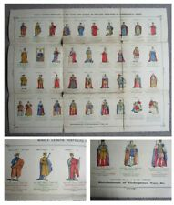 More details for 1904 kings & queens of england rare hand coloured children's history poster