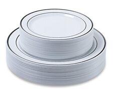 "set 60 Elegant plastic disposable plates silver 30x10.25 ""Dinner 30 x7.5""festive"