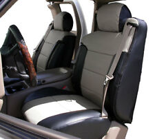 CHEVY SILVERADO 03-06 BLACK/GREY LEATHER-LIKE CUSTOM FRONT SEAT & 2ARM COVERS