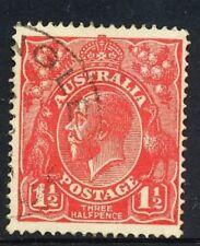 Australian 1½d Red, King George V, single wmk, used