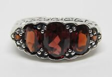 Natural Garnet Anniversary Band Ring Sterling Silver Antique Vintage Style Sz 6