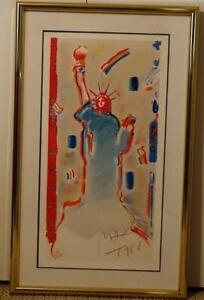 Frame Matt Glass Sign Number Lithograph Statue of Liberty 7/1986 Peter Max #16