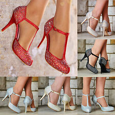 LADIES SPARKLY GLITTER DIAMANTE DETAIL HIGH HEEL STRAPPY EVENING PARTY SHOES 3-8