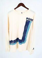 JunkFood Long Sleeve T-Shirt Size XXL Cream Pong Graphic Tee Atari Crew Neck