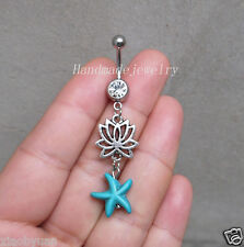 2ps Lotus Belly Button Ring Jewelry Starfish  Navel Piercing Bar Barbell