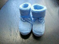 Chaussons bébé laine tricot main, blue