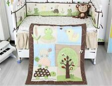 Tree & Tortoise Baby Crib Cot Bedding Quilt Bumper Sheet Dust Ruffle Set of 4pcs