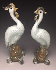 Pair Mcm Murano Art Glass Exotic Bird Sculptures