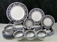 (48) Pc. Wedgwood Navy Blue Florentine Bone China Dinner Service for 8