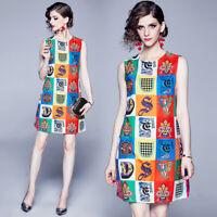 Vintage 60s MOD Women Sleeveless Luxury designer Geometric Print Shift Dress
