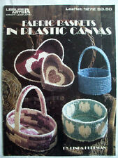 Fabric baskets plastic canvas pattern 4 styles hearts handled oval round