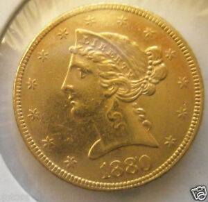1880 $5 Liberty Head Gold Half Eagle - # 263