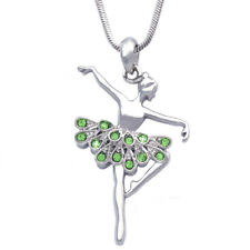 Ballerina Ballet Passe Pose Dancing Girl Crystal Tutu Pendant Necklace Gift Box