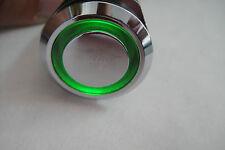 Momentary N/O OFF-(ON) Steel Circular Push Switch Green LED Bulb 12v-120v 19mm