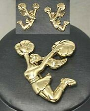 Gold Cheerleader Pin Pendant and Earrings Set