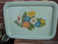 Vtg MidCentury50s Hippy Deco Green  Floral Metal TV Serving Snack Lap Camp Tray
