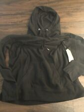 Women's Tek Gear Fleece Pull Over Hooded Sweatshirt Black Large NWT