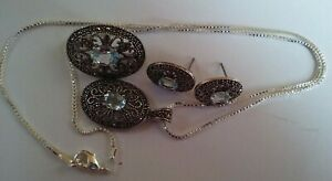 sapphire/silver jewelry set of necklace and brooch and earings 杂 饰