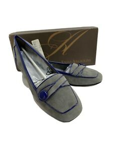 Enzo Angiolini Ealinen 8 Narrow Ballet Flats Loafers Gray Purple Patent Leather
