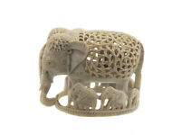 Soprammobile Elefante Da Pietra India Piccolo Di'-pietra Elefante Intaglio- 7671