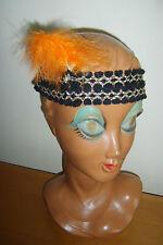 BLACK & ORANGE HEADBAND HEADDRESS 1920s FLAPPER CHARLESTON FANCY DRESS COSTUME**