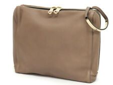 Chloe Logo pull clutch bag Second leather brown system ladies' party