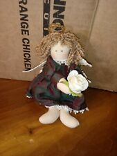 """Delton Products 7"""" Cloth Angel Doll Green & Red Iridescent Dress Yellow Rose"""