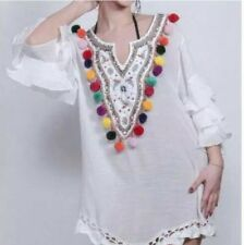 Kaftan White Pom Poms Embroidery Beads Frilly Sleeves Long One Size Stunning New