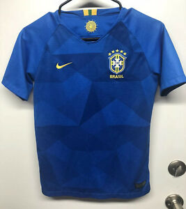 2018 Nike Brazilian National Soccer Jersey, Sz Youth Large, 10-12, Dri Fit