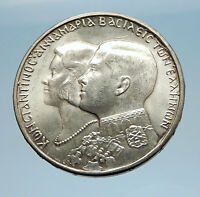 1964 Greece CONSTANTINE II Marries Anne-Marrie from Denmark Silver Coin i71620