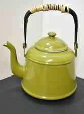 Green / Black Handle Enamelware Graniteware Gooseneck Teapot Tea Kettle