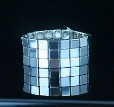 Tiffany & Co Sterling Silver Three Rows Square Tile Link Bracelet 7.25in.