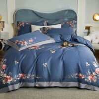 Luxury Flowers Embroidery Egyptian Cotton Bedding Set Duvet Cover Set Bed Sheet