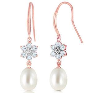 Genuine Aquamarines, Diamonds & Cultured Pearl Flower FishHook Earrings 14K Gold