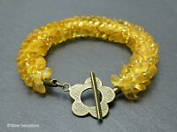 Frosted & Golden Yellow Woven Petals Seed Bead Kumihimo Fashion Bracelet