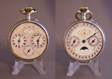 Ottoman Double Dial Dual Time Captain Calendar Moon Phase Silver Pocket Watch
